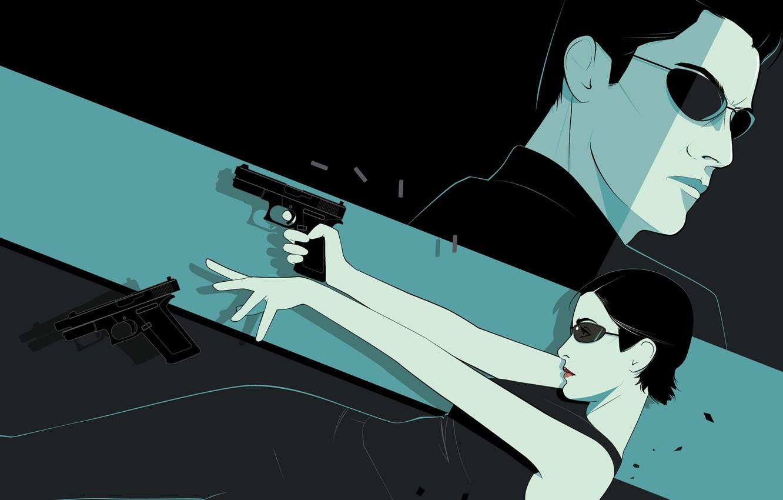 Photo wallpaper weapons, art, glasses, matrix, The Matrix, neo