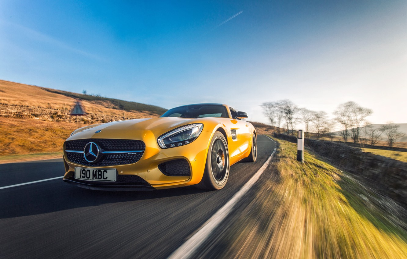 Photo wallpaper yellow, Mercedes, Mercedes, AMG, AMG, UK-spec, 2015, GT S, C190
