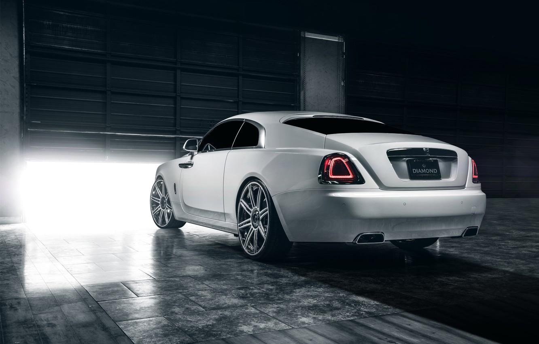 Photo wallpaper car, ass, garage, Rolls Royce, Wraith