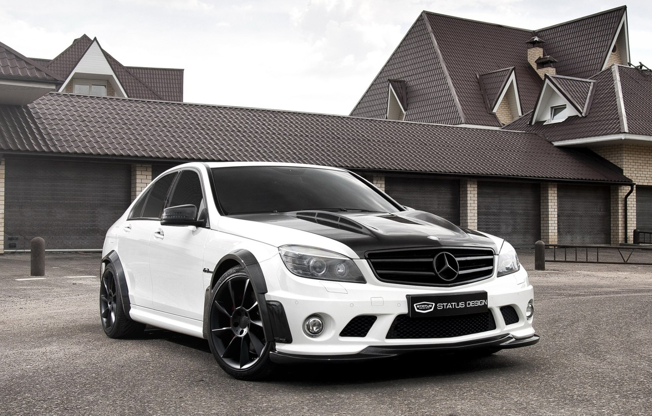 Photo wallpaper white, the sky, house, Mercedes-Benz, garage, Mercedes, tuning, the front, DTM, C-class, Status Design, tuning, …
