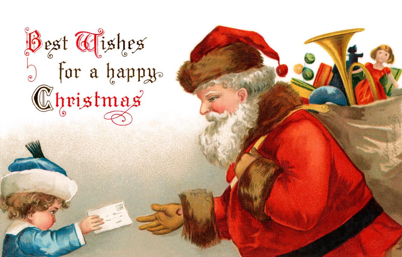 Photo wallpaper letter, toys, boy, Santa Claus, bag, Santa Claus, postcard