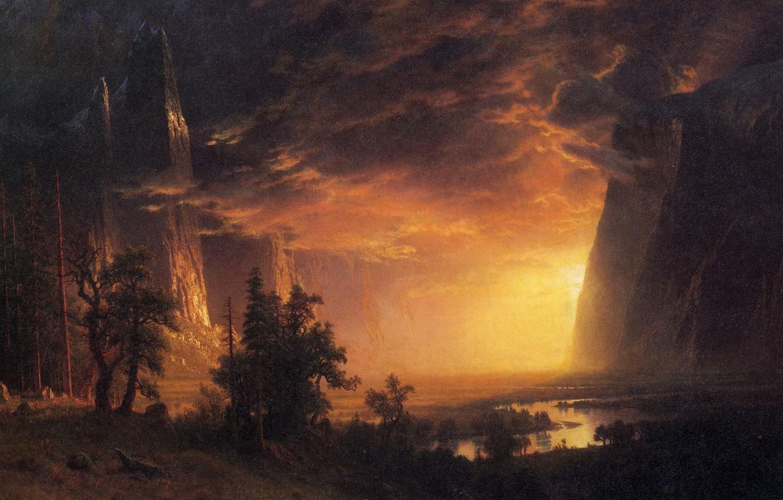 Photo wallpaper clouds, landscape, mountains, rocks, picture, Albert Bierstadt, Sunset in the Yosemite Valley