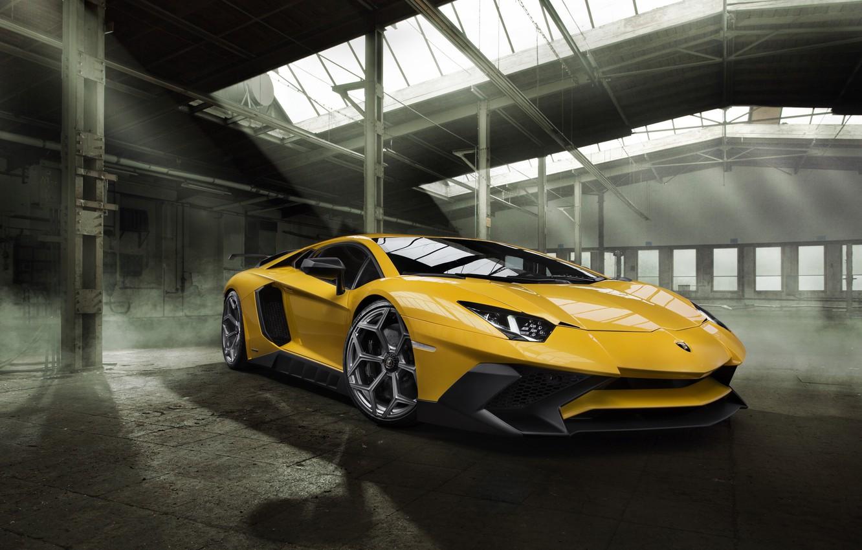 Photo wallpaper car, machine, Lamborghini, wallpaper, auto, yellow, beautiful, the front, Aventador, Novitec, Torado, LP 750-4