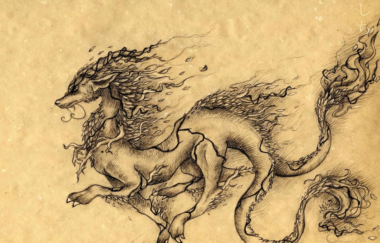 Photo wallpaper leaves, paper, dragon, figure, branch, art, characters, horns, basti