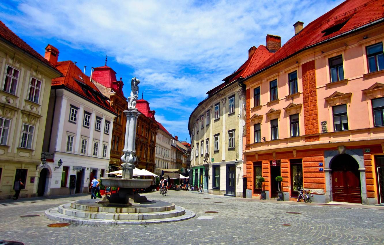 Photo wallpaper street, monument, Slovenia, slovenia, Ljubljana, ljubljana
