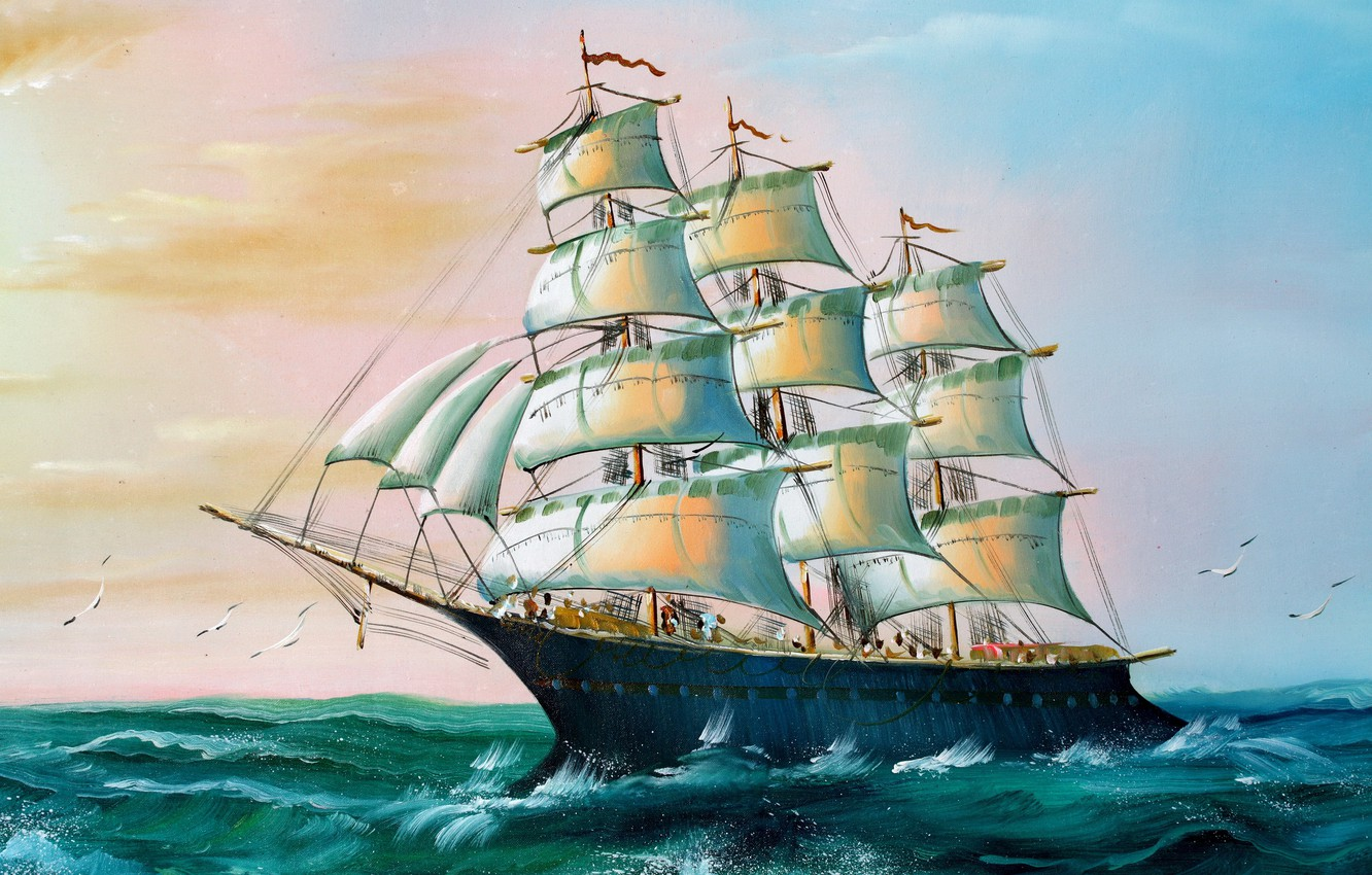Photo wallpaper Sea, Figure, Birds, Ship, Sailboat, Day, Seagulls, Painting, Side view