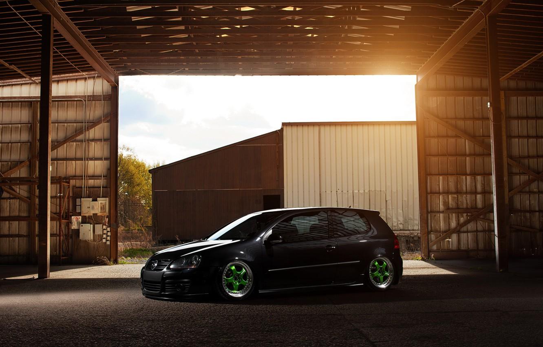 Photo wallpaper black, tuning, black, Golf, golf, Volkswagen, Volksvagen, stance, mk5