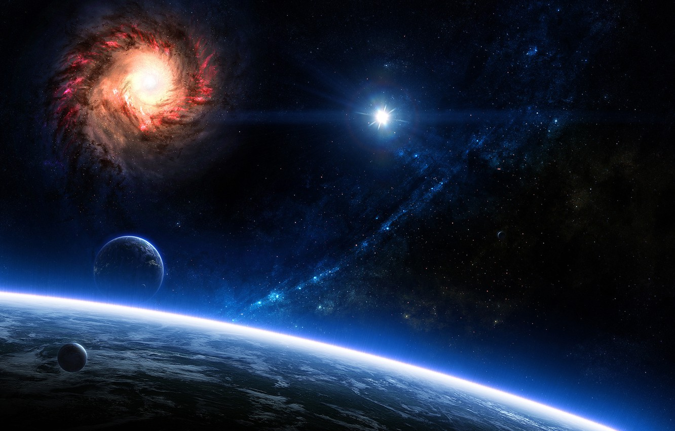 Photo wallpaper Stars, Planet, Planets, Stars, Space, Galaxies, Blue