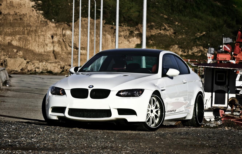 Photo wallpaper white, rocks, bmw, shadow, BMW, white, front view, e92