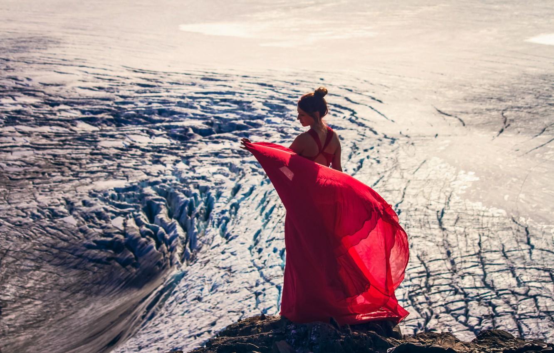 Photo wallpaper girl, glacier, Alaska, Alaska, red dress, Kenai Fjords National Park, Harding Icefield, Kenai Mountains, Kenai …