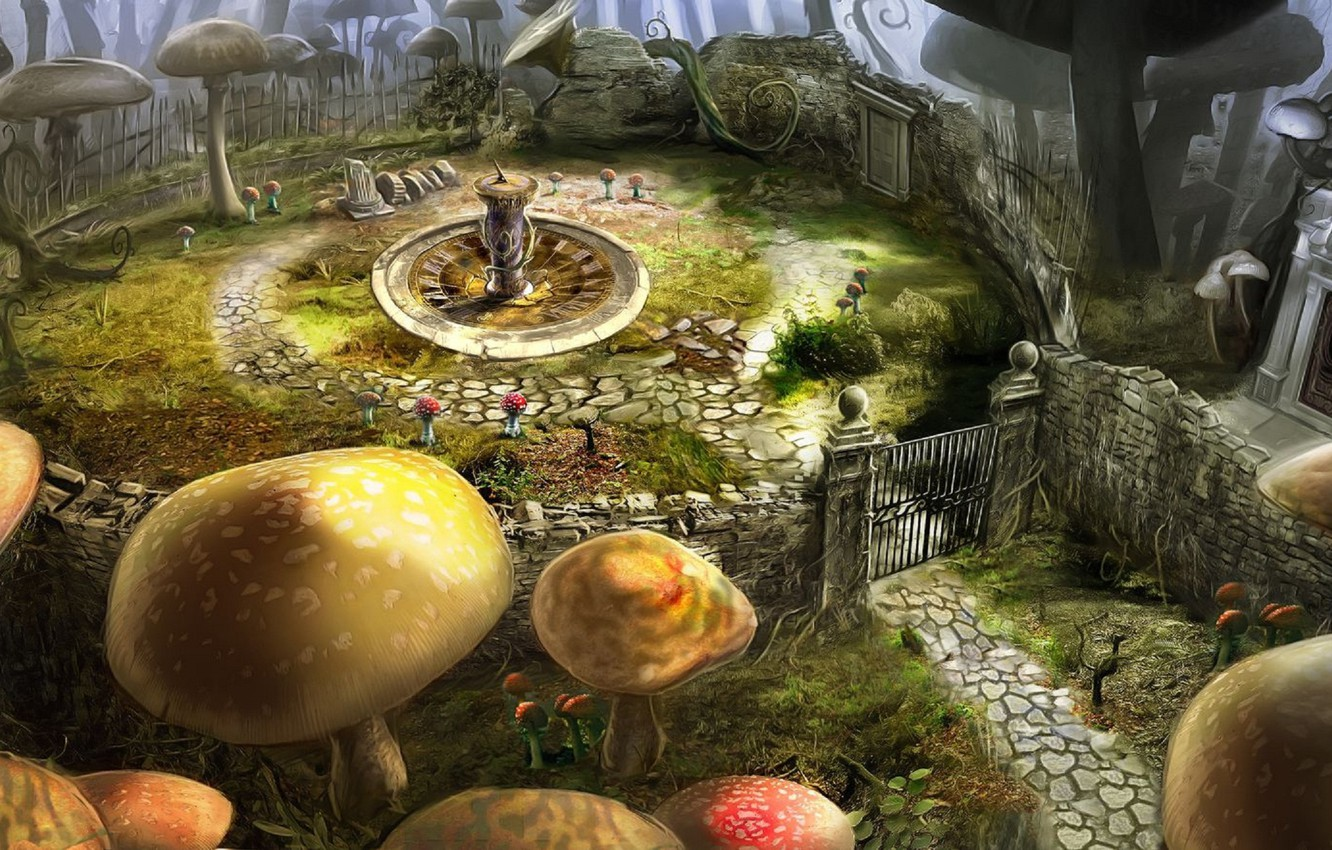 Wallpaper Flowers Mushrooms Gate Alice In Wonderland Tim