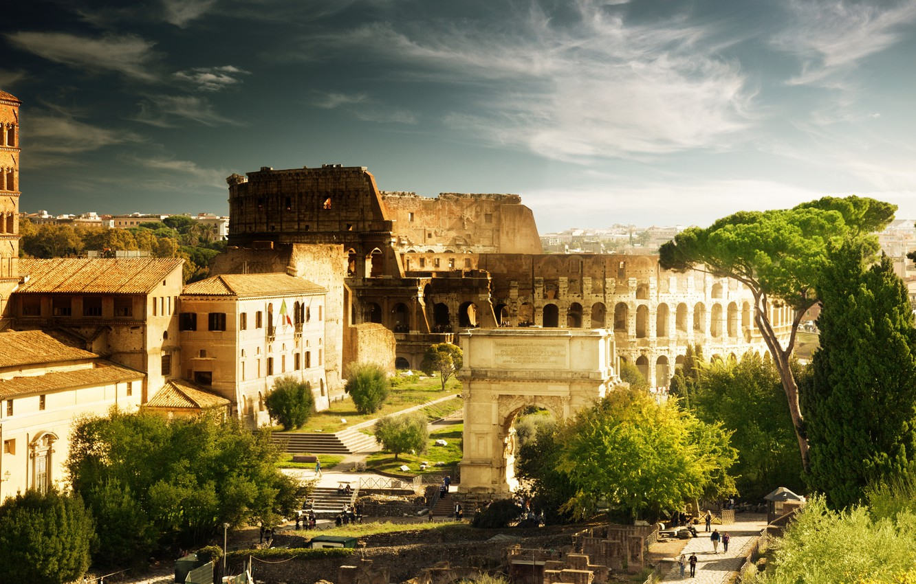 Photo wallpaper trees, people, home, Rome, Colosseum, Italy, architecture, Italy, Colosseum, Rome, arch of Constantine
