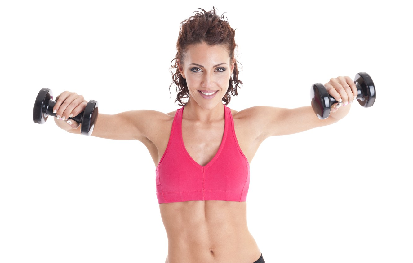 Photo wallpaper fitness, dumbbells, small weights