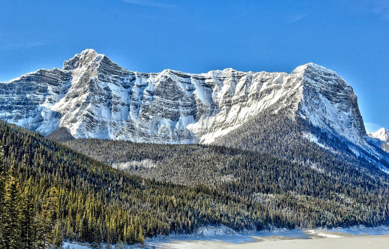 Photo wallpaper snow, Canada, top, coniferous trees, Mount Sarrail, lake Aster, mountain Sarrail, ridge