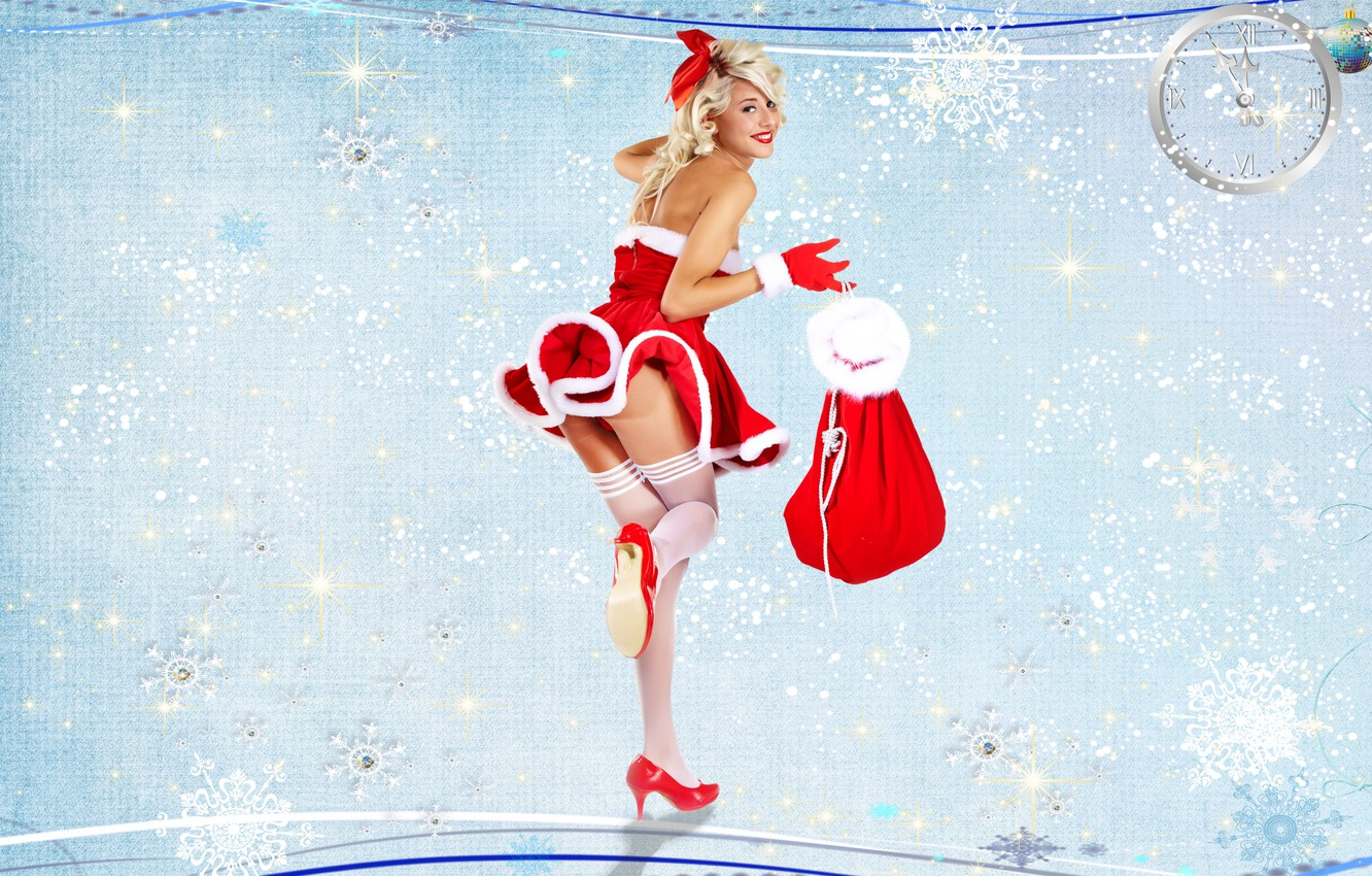 Photo wallpaper background, gifts, gloves, Maiden, bag, Christmas