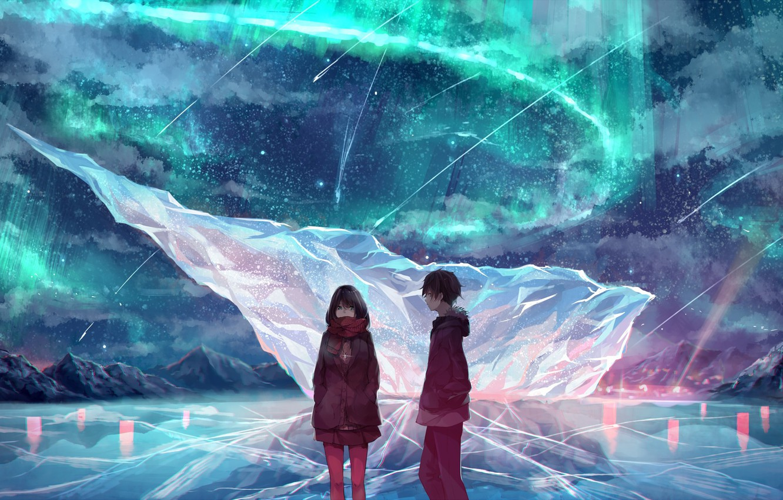 Photo wallpaper winter, the sky, girl, mountains, night, nature, Northern lights, anime, art, guy, akira, mr. akira, …