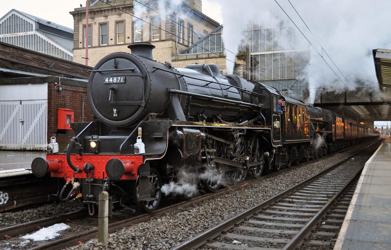 Photo wallpaper the engine, station, railroad, Steam train