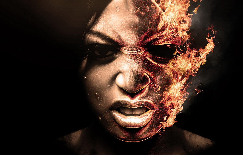 Photo wallpaper Girl, Black, Fire, Teeth, Background, Askal