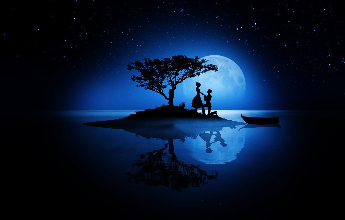Photo wallpaper love, night, the moon, romance, stars, pair, silhouettes, Valentine's day