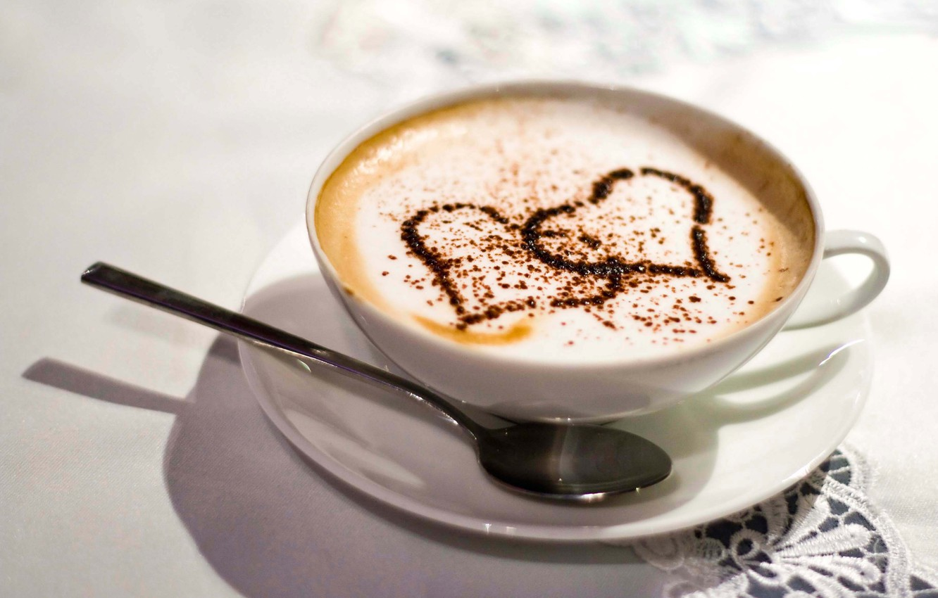 Photo wallpaper white, love, table, coffee, heart, spoon, Cup, tablecloth