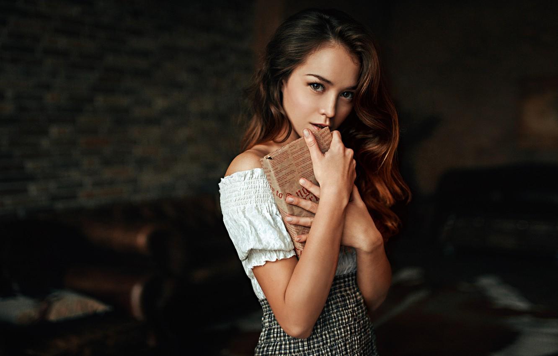 Photo wallpaper Girl, Look, Book, Model, Lips, Room, Hair, Dress, Legs, Beautiful, Anastasia Zonova