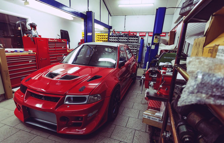 Photo wallpaper garage, mitsubishi, lancer, evolution, evo, Lancer, Mitsubishi, Evo