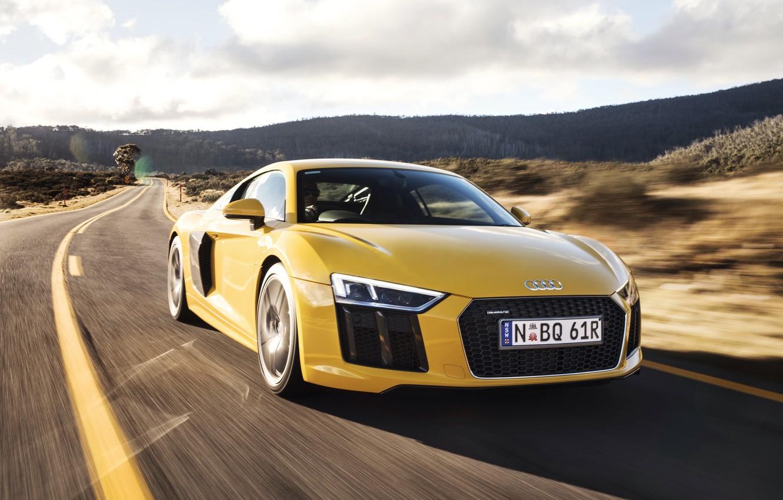 Photo wallpaper car, machine, Audi, Audi, road, yellow, speed, V10