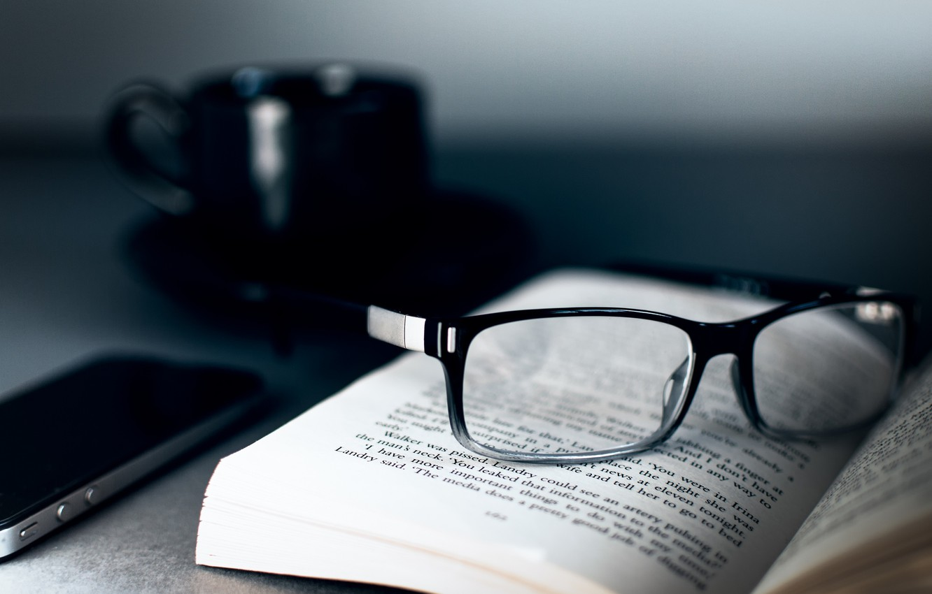 Photo wallpaper glasses, Cup, black, book, page, iphone 4