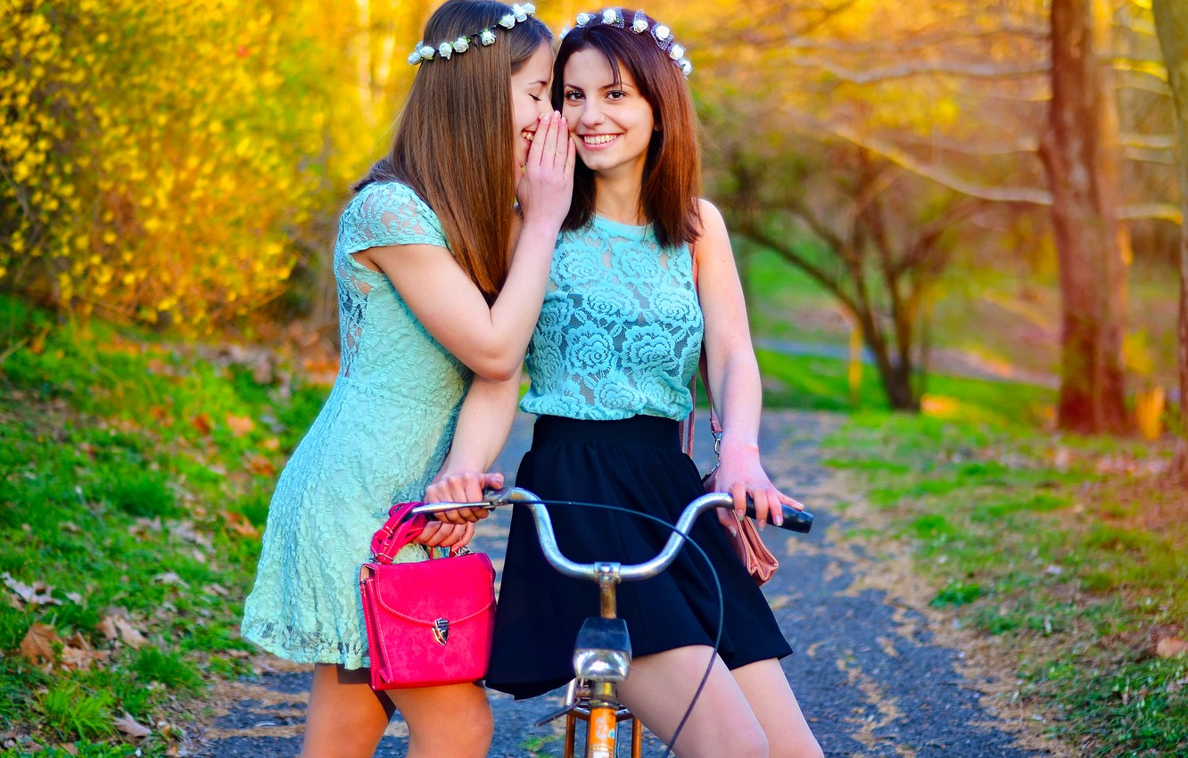 Photo wallpaper Girl, Model, Smile, Spring, Bike, Fashion, Twins, Bulgaria, Sisters, Ikoseomer, Portre, Shooting