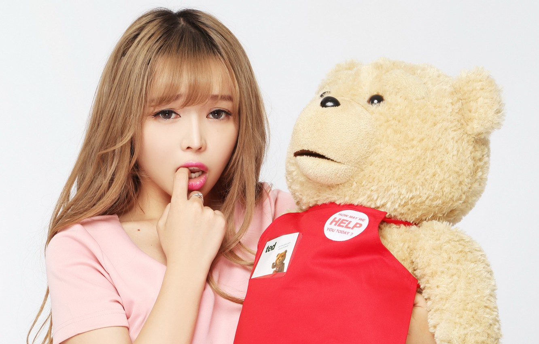 Photo wallpaper girl, mood, toy, bear