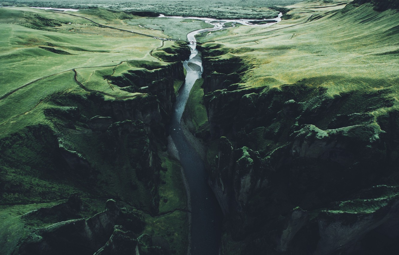 Photo wallpaper river, rocks, gorge, Iceland
