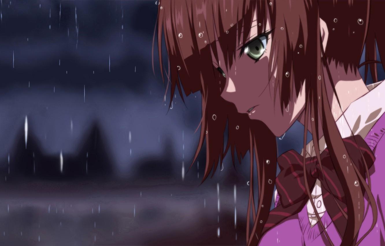 Photo wallpaper Anime, Strike the Blood, Kirasaka Sayaka, rain.