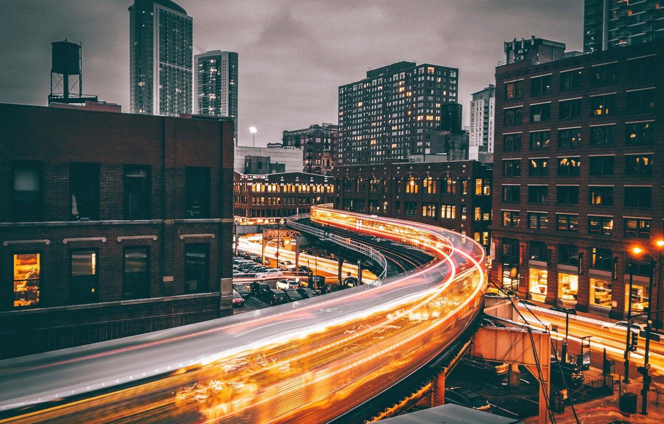 Photo wallpaper light, night, the city, home, the evening, excerpt, Chicago