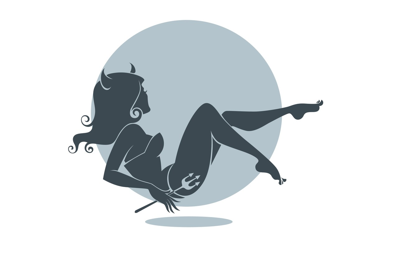 Photo wallpaper girl, background, minimalism, silhouette, profile, horns, yo, halloween.