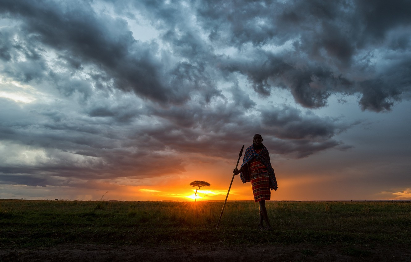 Photo wallpaper the sky, sunset, Africa, Kenya, The Masai Mara, human