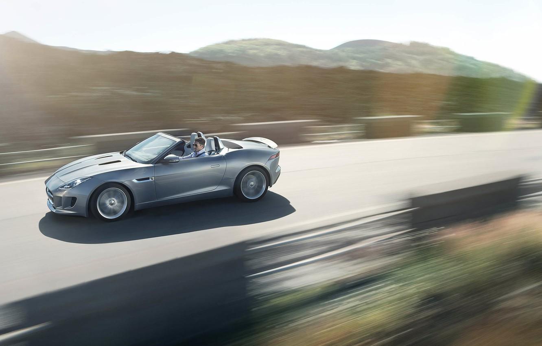 Photo wallpaper road, grey, movement, Jaguar, convertible, jaguar, f-type