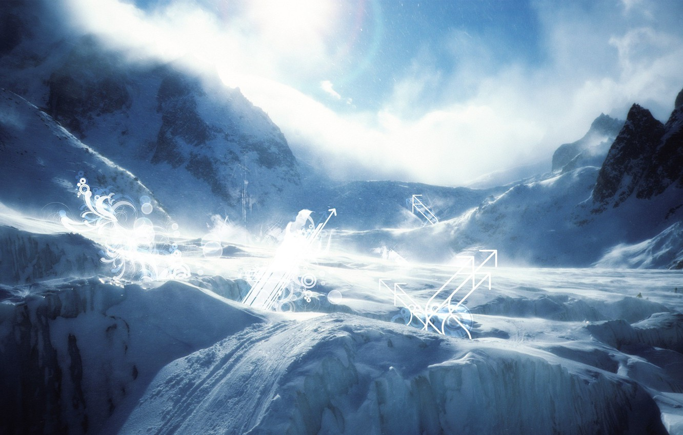 Photo wallpaper winter, snow, circles, landscape, mountains, rocks, stay, landscape, curls, arrows, up, up, the slopes, curls, …