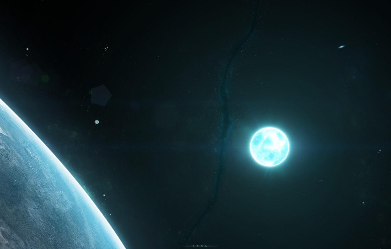 Photo wallpaper star, planet, satellite, galaxy