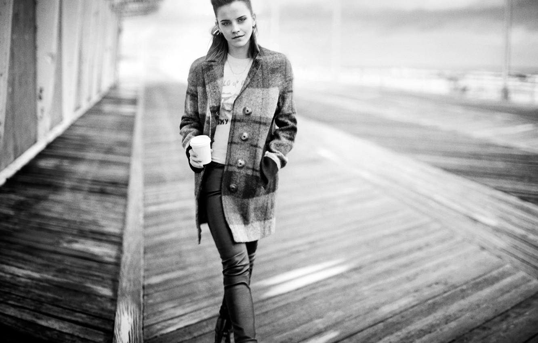 Photo wallpaper b/W, actress, Emma Watson, Emma Watson