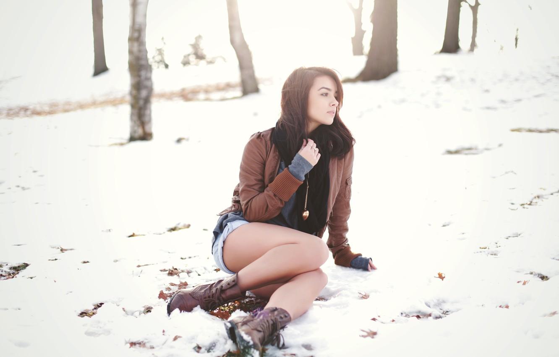 Photo wallpaper winter, girl, brunette, beauty, Katie JoAnne