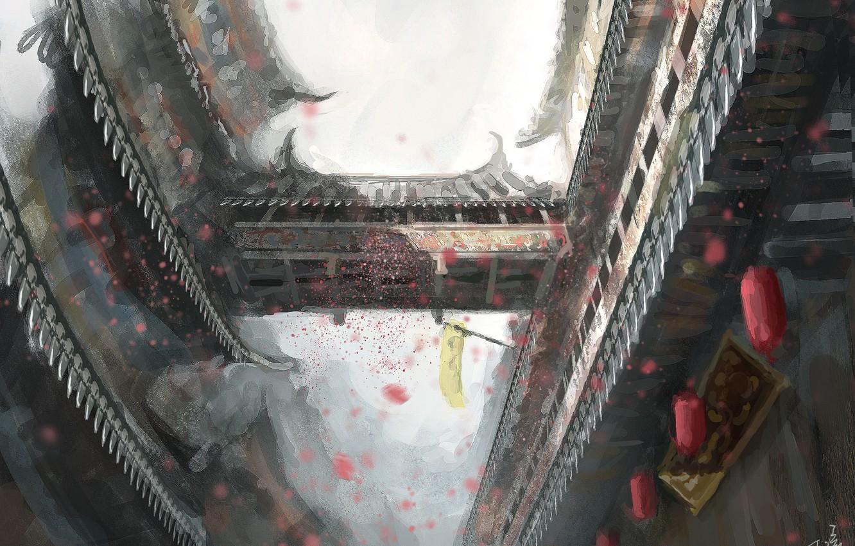 Photo wallpaper bridge, the city, Asia, building, art, lights