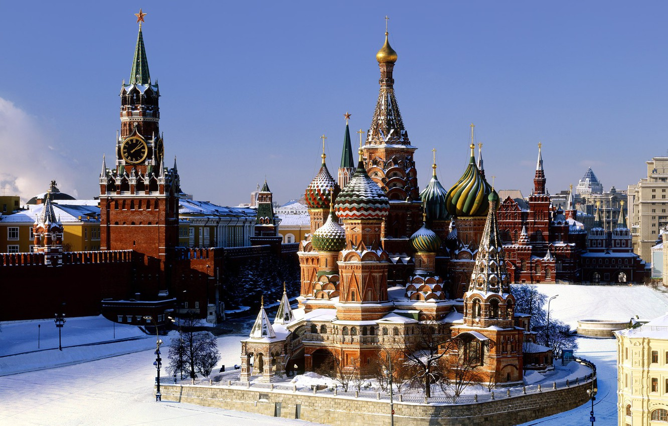 Photo wallpaper winter, snow, Moscow, the Kremlin, St. Basil's Cathedral, Pokrovsky Cathedral