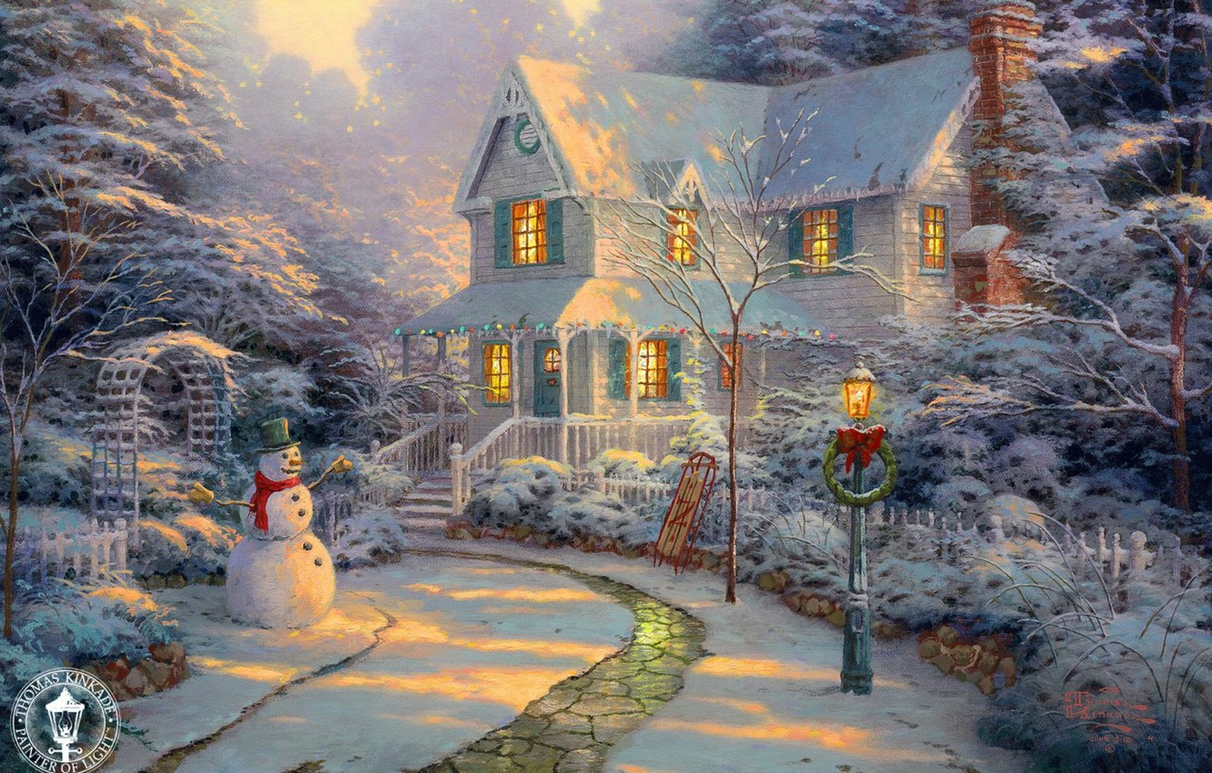 wallpaper sunset house holiday track lantern snowman painting rh goodfon com