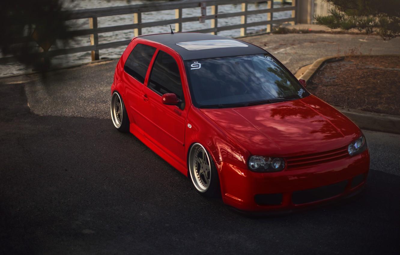 Photo wallpaper red, tuning, volkswagen, red, Golf, golf, Volkswagen, stance, MK4