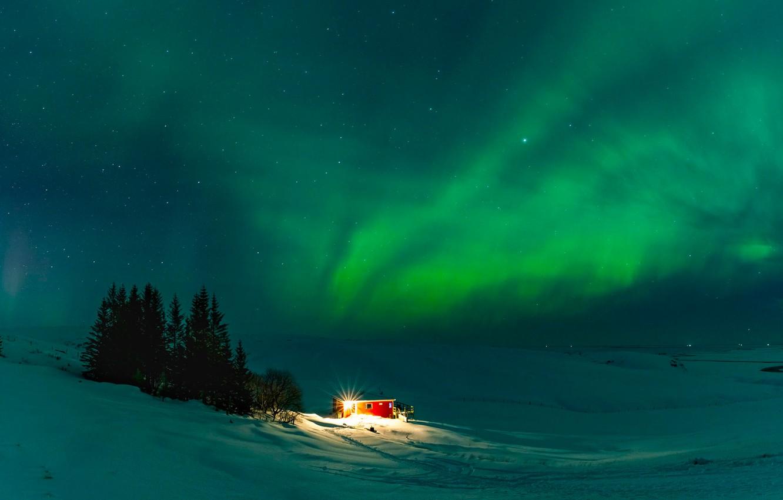 Photo wallpaper Nature, Aurora, Winter, Landscape, Iceland, Travel, Cold, Wonderful, Places