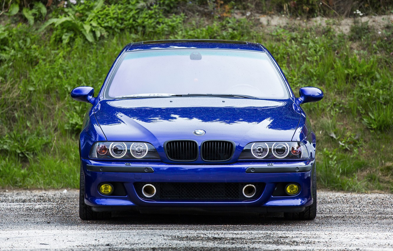 Photo wallpaper blue, reflection, bmw, BMW, blue, the front, e39