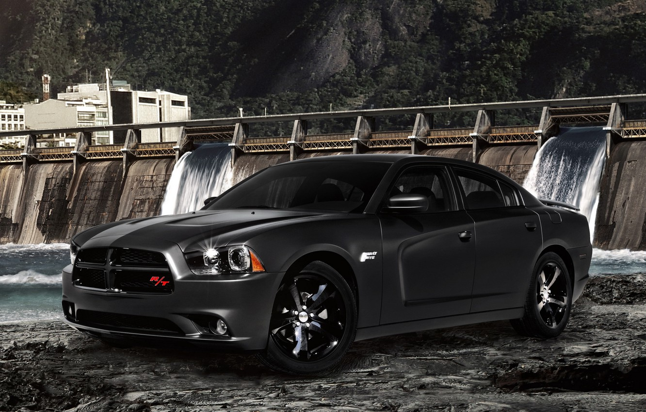 Photo wallpaper water, black, dam, Dodge, dodge, charger, r/t, fast five, fast and furious 5, special version, …
