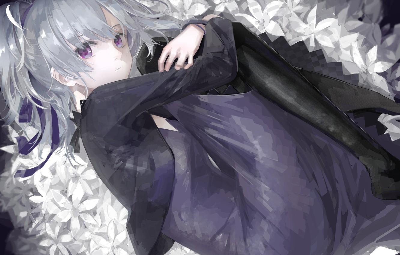 Photo wallpaper girl, flowers, art, darker than black, lying, aspara