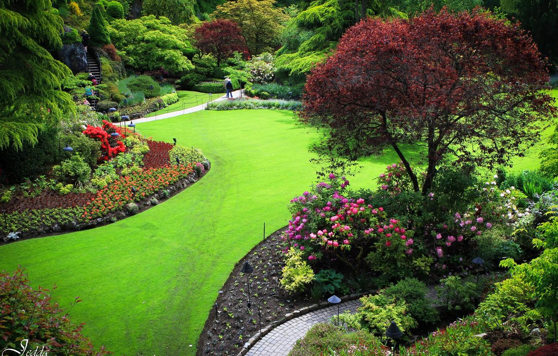 Photo wallpaper grass, trees, flowers, Park, people, garden, Canada, lawn, butchart