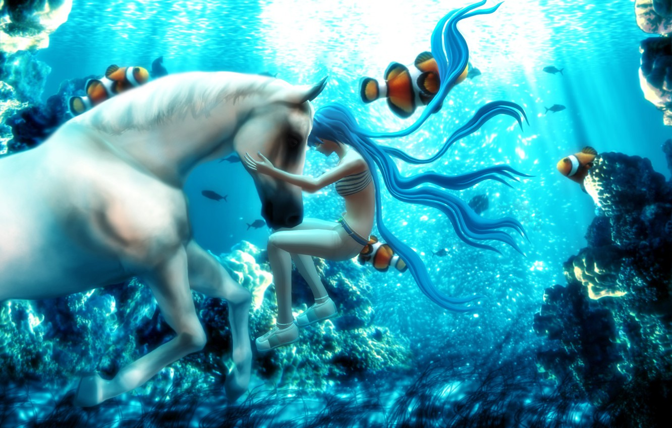 Wallpaper Fish Fantasy Hatsune Miku Vocaloid Under Water White Horse 3d Graphics Images For Desktop Section Prochee Download
